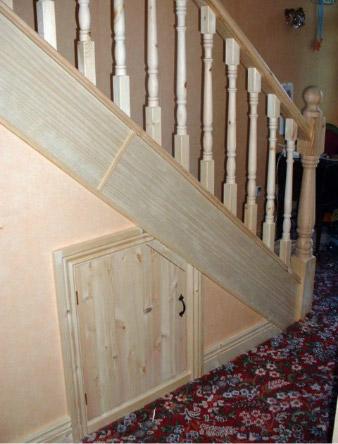 Pine stairs door choice doors floors stairs for Door under stairs